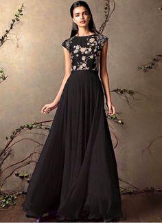 New Black Colour Floor Touch Designer Gown