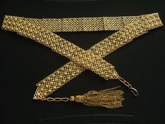 "Vintage HOLLYCRAFT Etruscan Style Antique Finish Brass Metal Studded Filigree Design Dangle Tassel Chain Waist Belt 31"" 34""Long Medium Large"