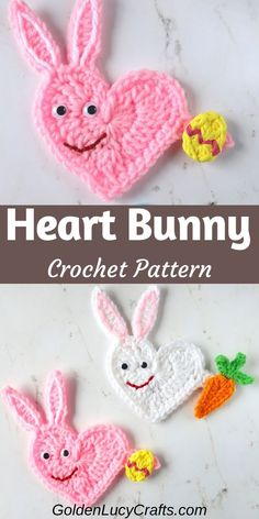 Heart Easter Bunny Applique This crochet Easter Bunny applique is made in the shape of a heart and is another addition to my series of Heart-Shaped Applique free crochet patterns. It is easy to make, and you can use it for any embellishment! Crochet Bunny, Cute Crochet, Crochet Motif, Crochet Yarn, Crochet Flowers, Holiday Crochet Patterns, Vintage Crochet Patterns, Vintage Sewing, Loom Knitting