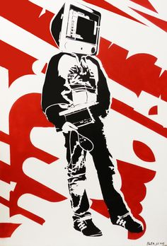 """Blek le Rat, French b.1951 """"Computer Man"""", 2008 Mixed media, aerosol spray, metallic paint on canvas Signed and dated Signed and stamped on the reverse 195x129.5cm Offered at auction by Roseberys London www.roseberys.co.uk #BlekleRat #contemporaryart"""