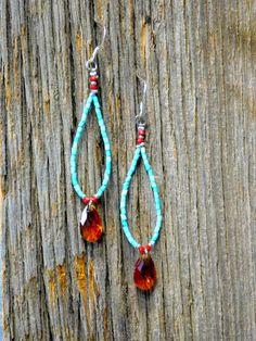 Turquoise and Red Beaded Crystal Teardrop Earrings, Jewelry, Nickel Free by RenataVita on Etsy https://www.etsy.com/listing/293334533/turquoise-beaded-crystal-teardrop