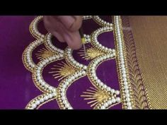 Making of simple Double line kundan work - Maggam work making video Hand Embroidery Design Patterns, Hand Embroidery Videos, Hand Work Embroidery, Beaded Embroidery, Machine Embroidery, Embroidery Techniques, Embroidery Kits, Cutwork Blouse Designs, Fancy Blouse Designs