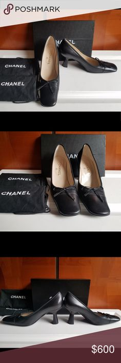 SATURDAY post STUNNING CHANEL PUMPS SIZE 40Euro Simply stunning Classic Chanel at its best excellent condition not a scratch or a mark on body of shoes  only slight wear on soles as shown calf skin leather with bow in front that has Chanel word stamped  at end of each bow  pict taken in natural light without flash size 40 euro but Chanel runs small fits9 us perfectly 3 1/2 inch heel comfortable for all day wear comes with original Chanel shoe box &2 Chanel shoe dust bags CHANEL Shoes Heels