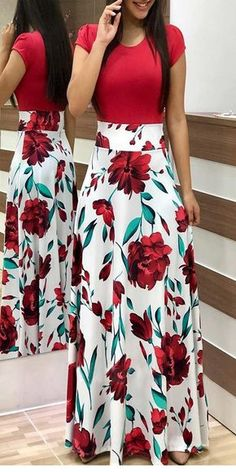 Short Sleeve Floral Print Maxi Dress - 27 ( and more) dresses - Saias Skirt Outfits, Dress Skirt, Cute Outfits, Slit Skirt, Chic Dress, Dot Dress, Dress Red, Skater Dress, Lace Dress