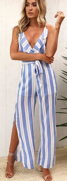 #winter #outfits blue and white striped plunging neckline spaghetti strap jumpsuits