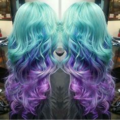 Teal blue and purple