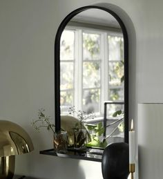 Jager Arched Mirror with Shelf, Black | Vaunt Design Frame Shelf, Mirror With Shelf, Black Mirror, Large Round Mirror, Arch Mirror, Wall Mirror, Wood Arch, Wardrobe Room, Interior Design Business