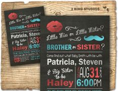 Gender reveal invitation that includes the older siblings too. Miss or mister brother or sister? Shiny red aqua and silver on a chalkboard