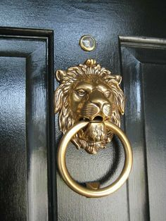 Lion Door Knocker, Brass Door Knocker, Aluminum Garage, Cottage Shutters, House Shutters, Door Knockers Unique, Stone Cottages, Funky Junk Interiors, Cabin Interiors