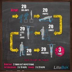Entraînement au poids du corps du 18/02 avec box jumps, pompes, fentes, levés de…