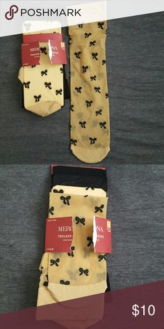 Cute 3 pairs trouser socks, never worn, just open Trouser socks, 2 black, 1 with bows. Never worn, just opened package. Merona Other
