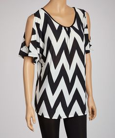 Take a look at this Black & White Zigzag Cutout Top by 24/7 on #zulily today!