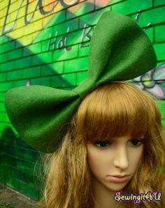 Big dusty green bow headband/hair/head by SewingitAU on Etsy,