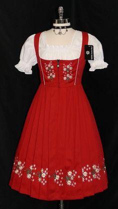 3 PC Long Red Dirndl German Wear Waitress Swing Bavarian Oktoberfest Party Dress | eBay