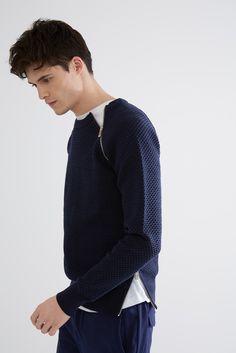 Jersey de algodón con cremalleras   Adolfo Dominguez shop online
