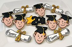 graduation cookies, fish cookie cutter for face!