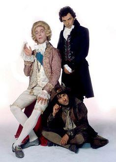 """Blackadder III"" via BBC Comedy. L-R: the Prince Regent (Hugh Laurie), E. Blackadder Esquire (Rowan Atkinson) and Baldrick (Tony Robinson). British Comedy Series, British Sitcoms, Blackadder Quotes, Johnny English, Uk Tv, Hugh Laurie, History Memes, Funny As Hell, One Liner"