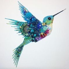 Hummingbird button art / mixed media