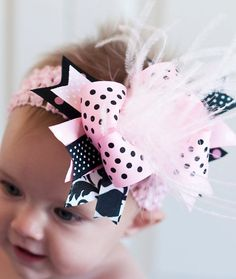 Over The Top Boutique Hairbow..Pretty Princess Spikey Layered Boutique Bow and Headband..Great for Newborn Toddler big Girl