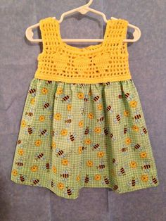 Bumblebee Crochet Blouse Summer dress mo size 18 – tops manualidades meninas The Effective Pictures We Offer You About crochet baby blanket. Crochet Dress Girl, Crochet Summer Dresses, Crochet Girls, Crochet For Kids, Crochet Yoke, Crochet Blouse, Easy Girls Dress, Frock Patterns, Crochet Toddler