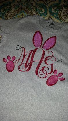 Easter Monogram Using Heat Transfer Vinyl Monogrammed T