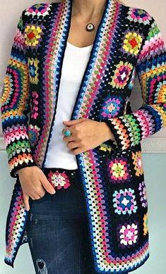 60 Granny Square Crochet Cardigan Pattern Ideas for Summer or Winter Part 1 cr. - 60 Granny Square Crochet Cardigan Pattern Ideas for Summer or Winter Part 1 crochet cardigan cro - Pull Crochet, Gilet Crochet, Crochet Coat, Crochet Shawl, Crochet Clothes, Crochet Headbands, Knit Headband, Baby Headbands, Free Crochet