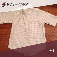 RGM men's short sleeve shirt Mens RGM Chairmanship Collection short sleeve.  Cream colored with yellow and grey pin stripes. RGM Shirts Casual Button Down Shirts