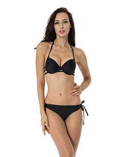 1e09e54237bc6 Tankinis RELLECIGA Womens Bikini Low Rise Bottom Padded Pushup Halter  Bikini Black Size L <