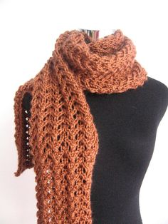Amber Lace Scarf Copper Spring Fashion Scarf Spring by KnitsByNat
