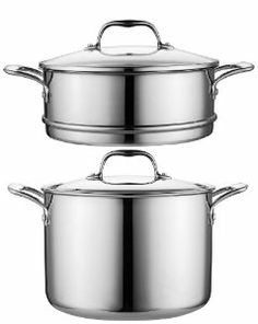Cooks Standard NC-00224 Multi-Ply Clad 5-Ply Stainless Steel Stock Pot with Steamer and Glass Lid, 8-Quart by Neway International Housewares. $119.99. The Multi-Ply Clad stainless-steel cookware cleans up easily by hand or in the dishwasher. The cookware's cast stainless-steel handles come riveted for strength and durability. The cookware can be used on all stovetop surfaces, including induction stovetop and it withstands an oven's heat up to 500 degrees Fahrenheit. Multi-Ply...
