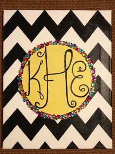 PAINTED BY ALYCIA :) Sorority canvas painting chevron circle monogram sparkle Rhinestones black and white cute Christmas gift DIY