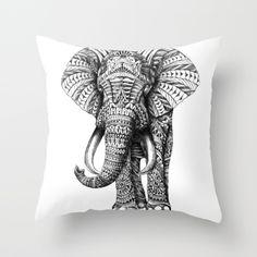 Ornate Elephant Throw Pillow -Ellie