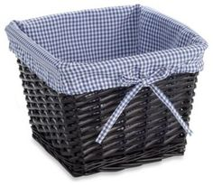 Navy Storage Baskets | ... Small Willow Basket Gingham Liner In Navy  Contemporary Baskets
