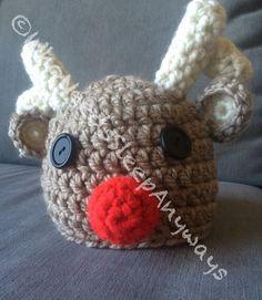 Rudolph Crochet Baby/Toddler Hat by WhoNeedsSleepAnyways on Etsy