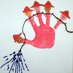 Pintar con niños, una mano, cinco bomberos