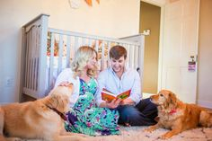 Attention to Darling: Maternity Photo Shoot, in the nursery, dogs, reading book, lilly pulitzer, mom and dad, relaxed, indoors