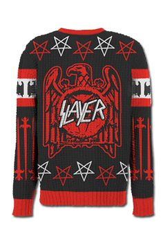 """""""Black Magic"""" and eggnog go hand in hand, right? No? Tell that to the person wearing this badass sweater.       Slayer Slayer Eagle Swords Sweater, $90, available at Slayer."""