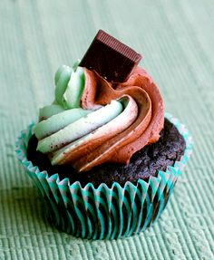 Perfect for St. Patrick's Day: Dark Chocolate Creme de Menthe Cupcakes, topped with Andes mints.