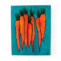 Original Carrot Painting - Vegetable Art for Living, Dining Room, Kitchen - Orange, Teal Blue, Green Food Decor Kitchen Artwork, Room Kitchen, Dining Room, Original Art, Original Paintings, Acrylic Paintings, Yellow Crocus, Orange Rooms, Paintings