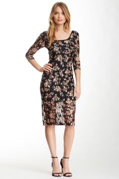 H.I.P. Floral Print Lace Midi Dress by H.I.P. on @nordstrom_rack