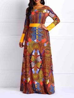 Zipper Long Sleeve Geometric Women's Maxi Dress Source by African Maxi Dresses, Latest African Fashion Dresses, African Dresses For Women, African Print Fashion, African Attire, Women's Fashion Dresses, African Clothes, Ankara Fashion, Ankara Gown Styles