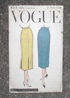 Vintage 1957 VOGUE 9111 uncut pattern instruction sheet SLIM SKIRT