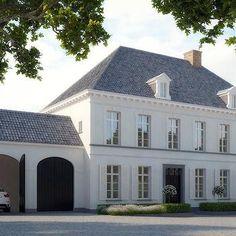 Black Garage Doors, French, home exterior white house exteri… – Door Ideas White Exterior Houses, French Exterior, White Houses, Garage Exterior, Diy Exterior, Exterior Shutters, Wall Exterior, Bungalow Exterior, Stucco Exterior