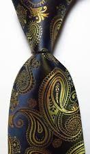 New Classic Paisley Black Gold Blue JACQUARD WOVEN 100% Silk Men's Tie Necktie