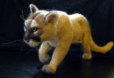 Needle Felting. Felted Cougar. For more information, Like us on facebook @ Summerfrost Studios