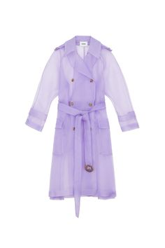 The iconic style of the trench coat reinvented in Nanushka's latest lilac organza. The timeless style of the Tuscan coat makes for a wardrobe staple that can be worn season after season. The smooth organza acts as a daring choice that still offers protection from the cool fall breeze with a flattering tie around the waist to add a cinched effect and a few organic hardware buttons and a buckle. Outerwear Women, Timeless Fashion, Wardrobe Staples, Trench, Style Icons, Lilac, Raincoat, My Style, Casual