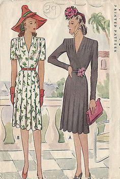 "1943 Vintage Sewing Pattern DRESS B36"" (39)"