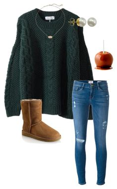 """ugg weather is almost here"" by lexie-clark ❤ liked on Polyvore featuring Frame Denim, UGG, Majorica and Kendra Scott"