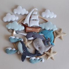 Whale Mobile, Boy Mobile, Felt Mobile, Handgemachtes Baby, Felt Baby, Baby Toys, Hanging Crib, Hanging Mobile, Southern Baby