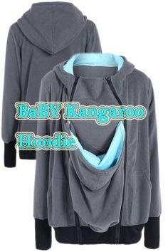 Inclined Zipper Baby Kangaroo Hoodie